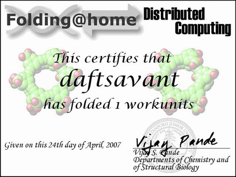 Folding@Home Distributed Computing: Certificate for Folding 1 Workunit