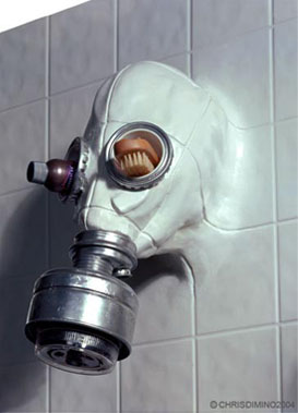 Gas Mask Showerhead by Chris Dimino