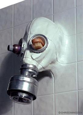 Gas Mask Showerhead by Chris Dimino