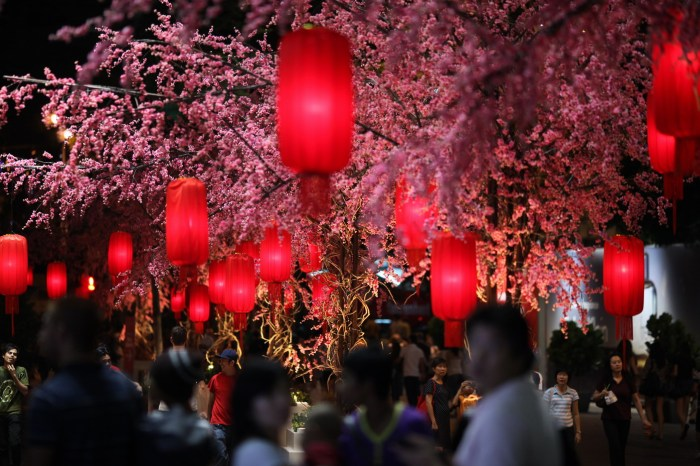 Faux sakura trees and CNY red lantern taken outside Pavilion Kuala Lumpur, February 2010